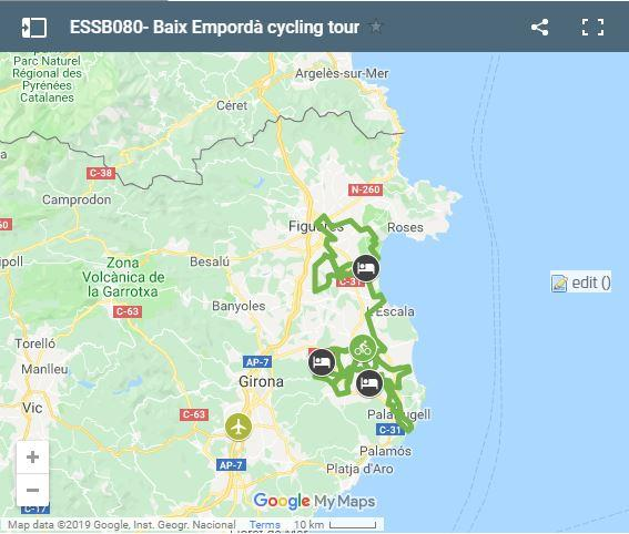 Map cycling routes in Baix Empordà