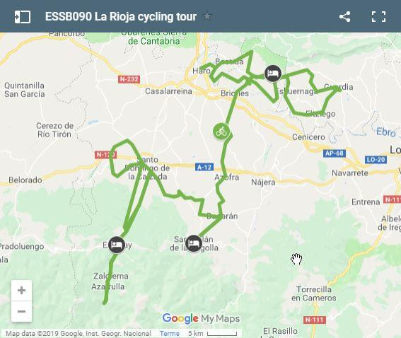 Map cycling routes La Rioja