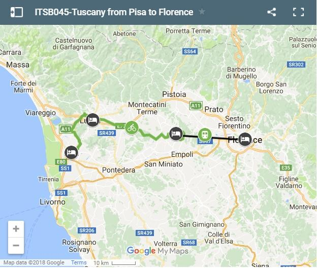 Map cycling route from Pisa to Florence