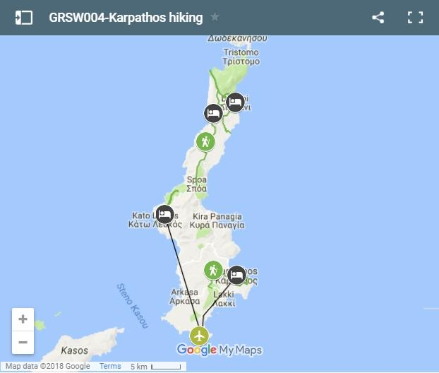 Map karpathos walking routes