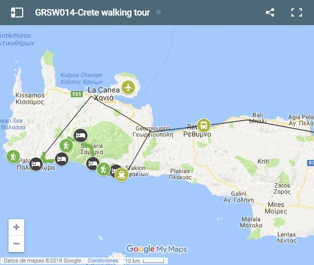 Crete south-west gorges walking map