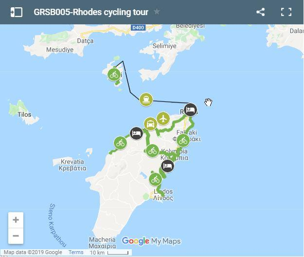 Map cycling routes in Rhodes