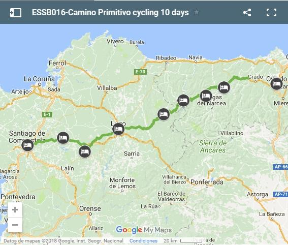 ESSB016-Camino Primitivo cycling map