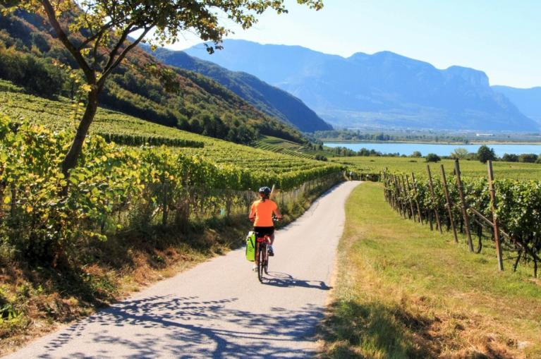 Cyclist in Lago Garda