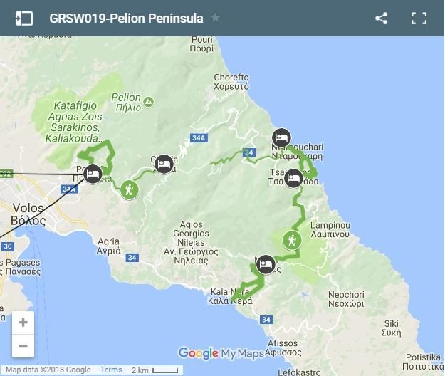 Map trekking routes in Pelion Peninsula
