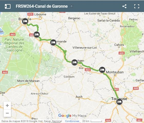 FRSW264-Canal de Garonne cycling map
