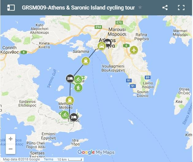 Map cycling routes Saronic Islands