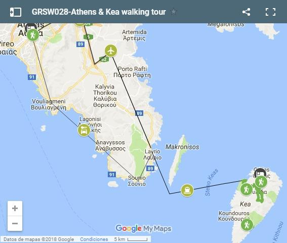 Athens and kea walking map
