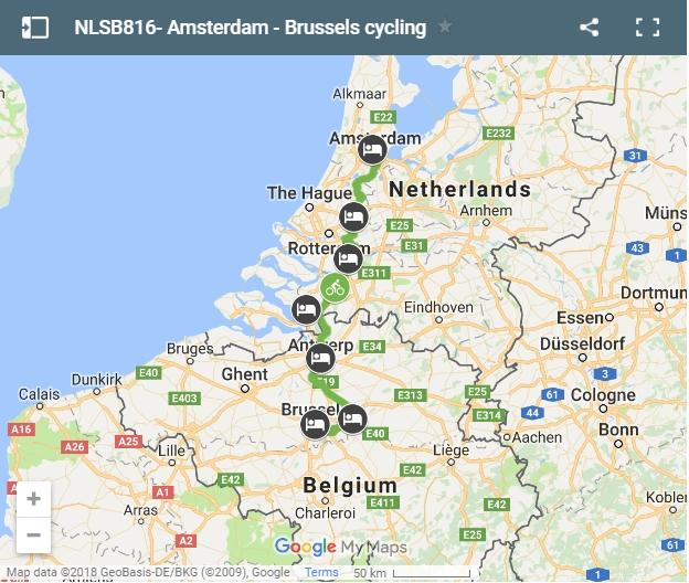 Cycling route Amsterdam Brussels