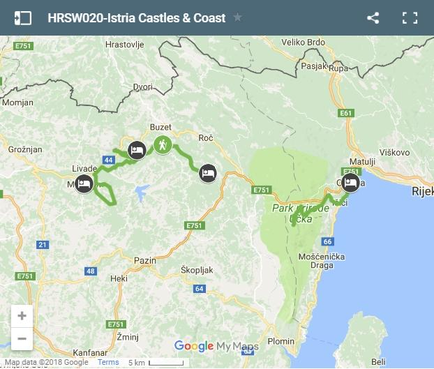 Map Istra walking routes