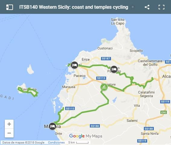 ITSB140 Western Sicily: coast and temples cycling map