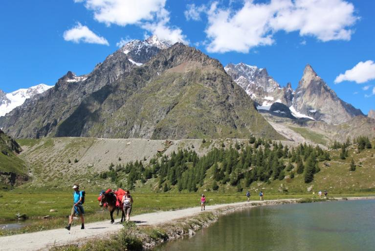 Hikers in Tour du Mont Blanc