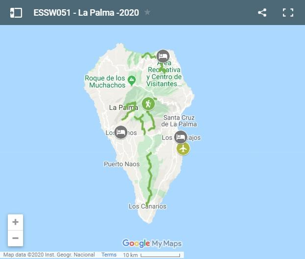 Map walking routes in La Palma island