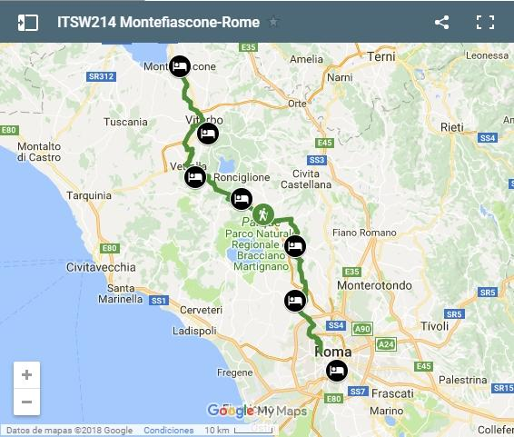 Map walking from Montefiascone to Rome