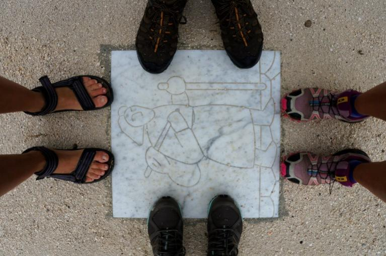 Feet pilgrims in Via Francigena