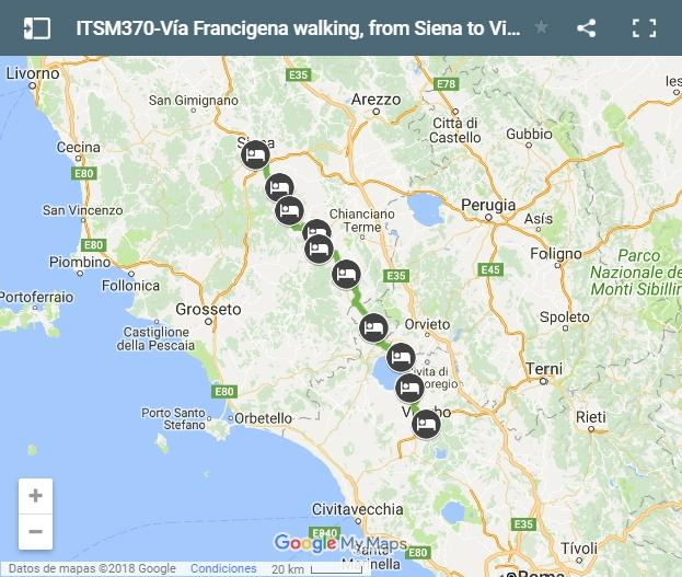 Map Vía Francigena walking, from Siena to Viterbo.jpg