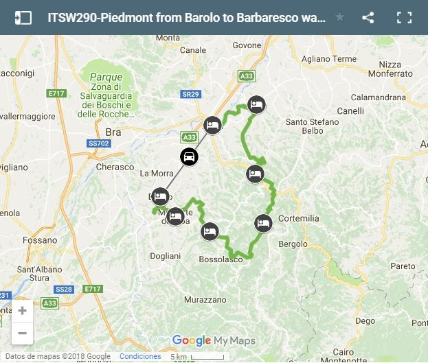 Map Piedmont from Barolo to Barbaresco walking tour