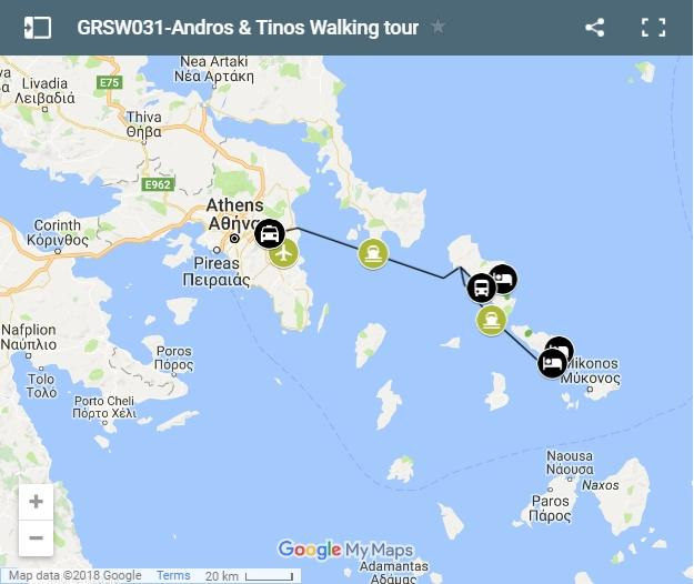 Map walking routes Andros and Tinos