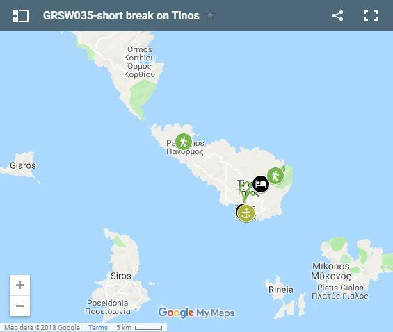 Map walking routes in Tinos