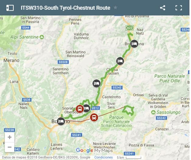 Map South Tyrol-Chestnut Route