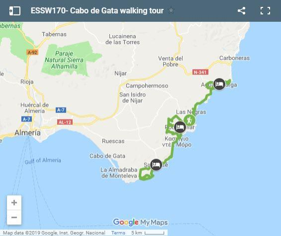 Map walking routes in Cabo de Gato