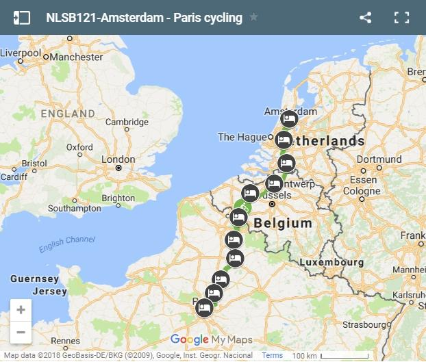 Cycling route from Amsterdam to Paris